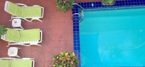 Aerial View of Pool and lounge chairs