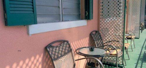 Seating area along interior balcony