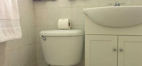 Toilet and sink in guest rooms