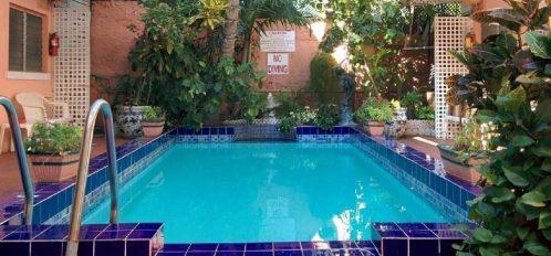 Wide shot of pool