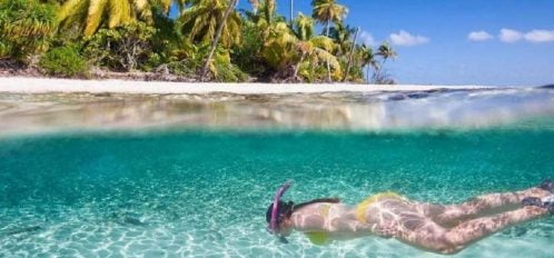 Woman Swimming in Bahama Waters